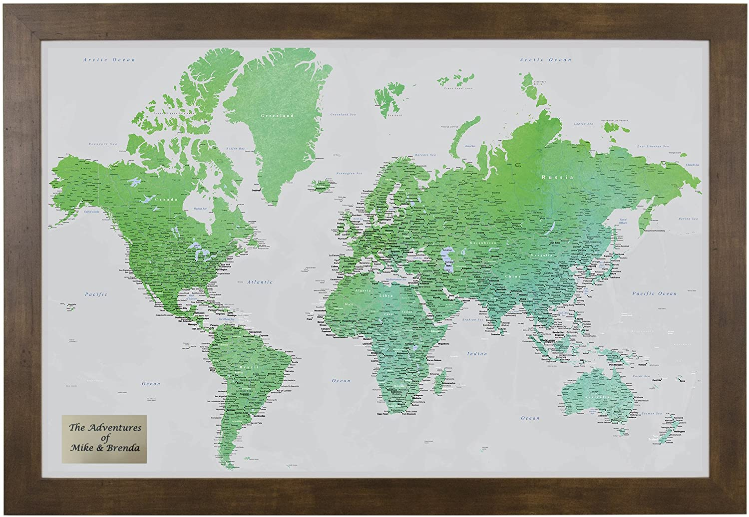 Personalized Enchanting Emerald Watercolor World Travel Map with Rustic Brown Frame