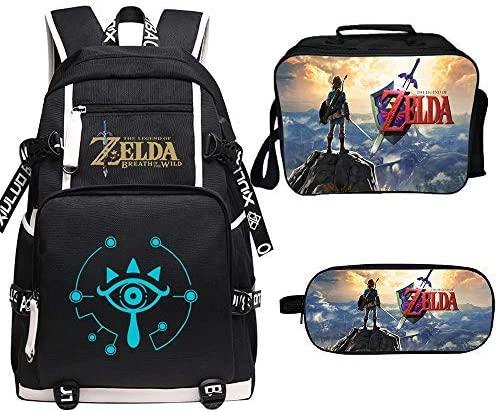 Qushy Legend of Zelda Backpack Lunch Box Pencil Case Outdoor Package (L)