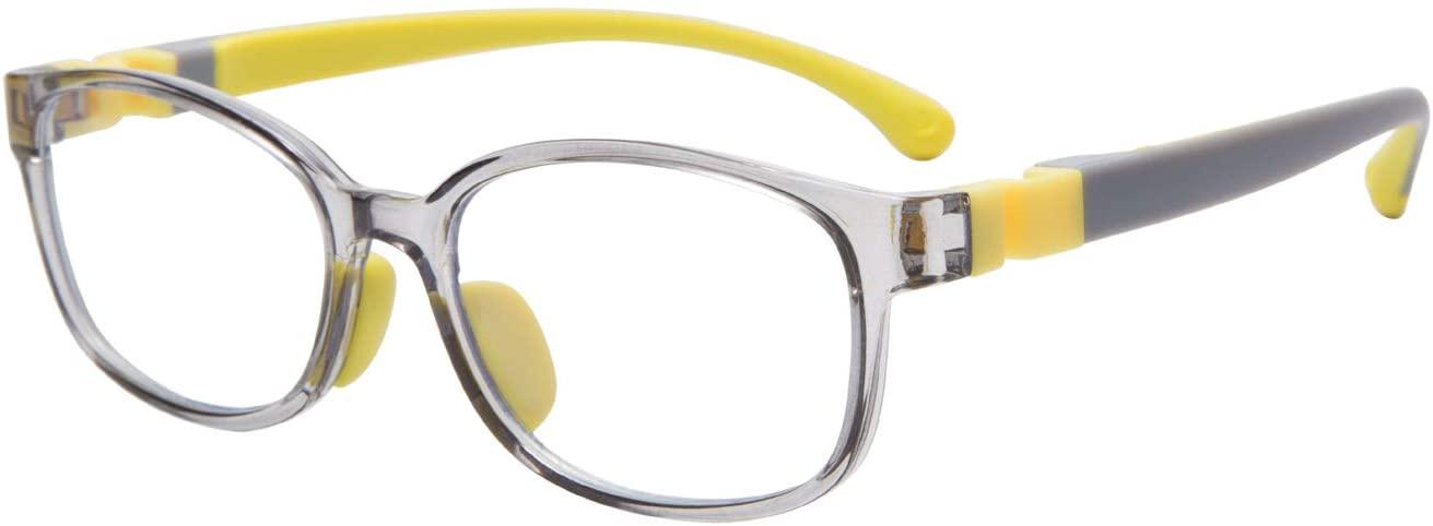 Kids Blue Light Blocking Glasses,Anti Blue Ray Computer Game Glasses TR90 Frame Computer Eyeglasses Boys Girls (Yellow)