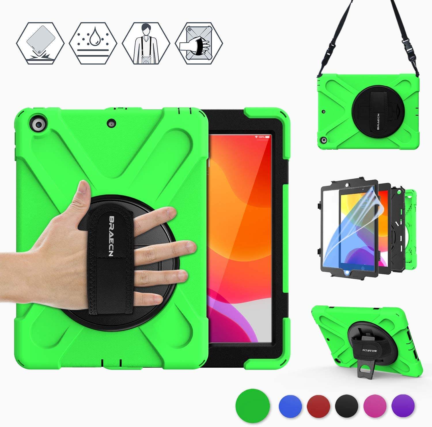BRAECN Case for iPad 10.2 2019,iPad 7th Generation Cases,Three Layer Rugged Heavy Duty Protective Kids Case with Built-in Screen Protector,Hand/Shoulder Strap,Built-in Stand for 10.2 iPad Case-Green