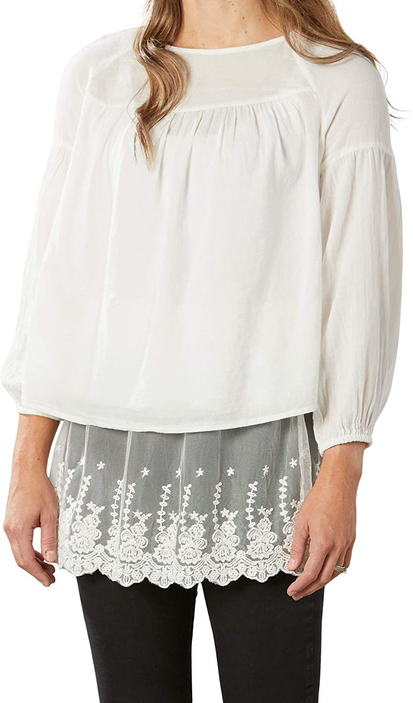 Elastic Waist White Lace Extra Large Polyester Fabric Camisole Shirt Extender