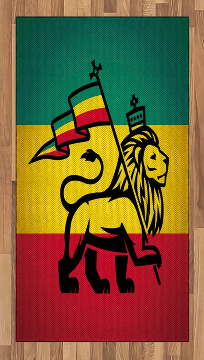 Ambesonne Rasta Area Rug, Judah Lion with a Rastafari Flag King Jungle Reggae Theme Art Print, Flat Woven Accent Rug for Living Room Bedroom Dining Room, 2.6' x 5', Black Green Yellow and Red