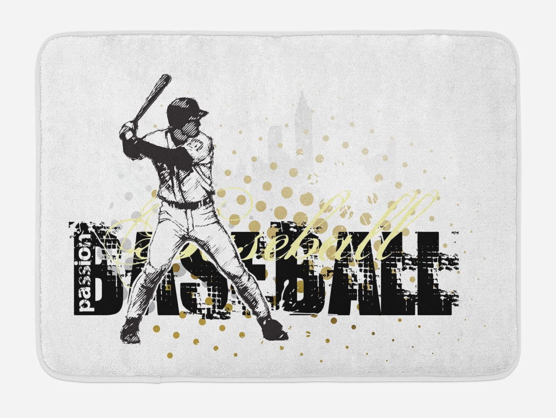 Ambesonne Baseball Bath Mat, Softball Background Dots and Grunge Dark Lettering Batting Team Game, Plush Bathroom Decor Mat with Non Slip Backing, 29.5