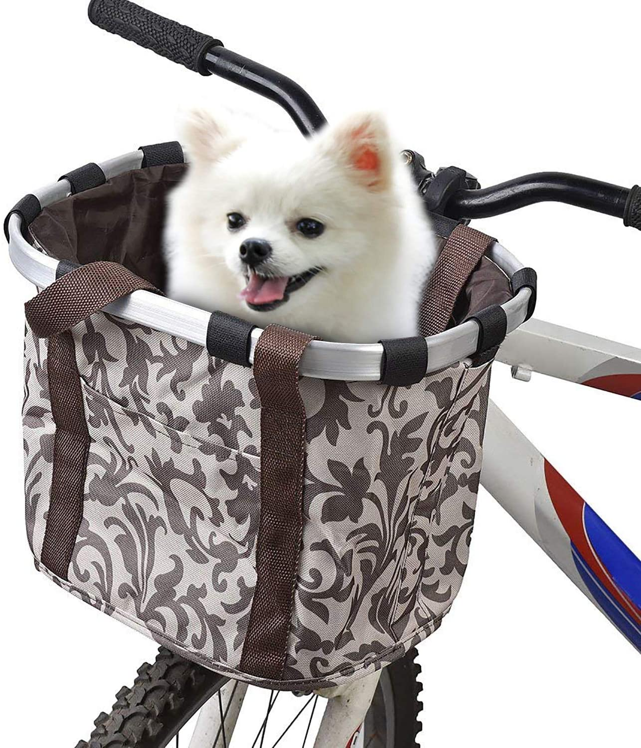 URBEST Bike Basket,Small Pets Cat Dog Folding Carrier,Removable Bicycle Handlebar Front Basket, Quick Release and Easy to Install,Detachable Cycling Bag