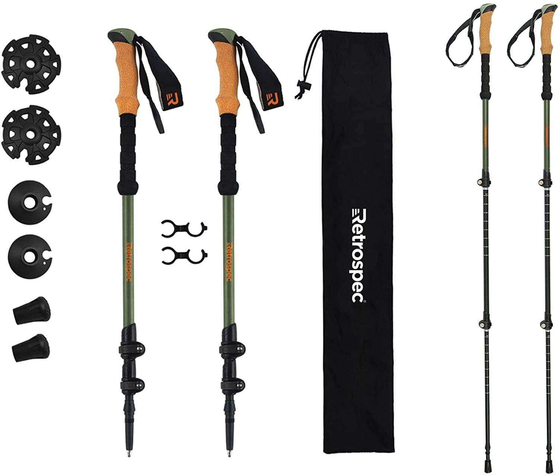 Retrospec High Point Trekking - Adjustable Lightweight Hiking/Walking Sticks