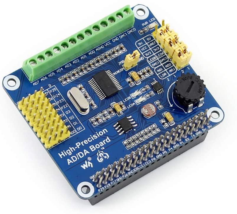 Waveshare Raspberry Pi AD/DA Expansion Sheild Board for Adding High-Precision AD/DA Functions to Raspberry Pi Onboard ADS1256 DAC8552 Sensor Interface
