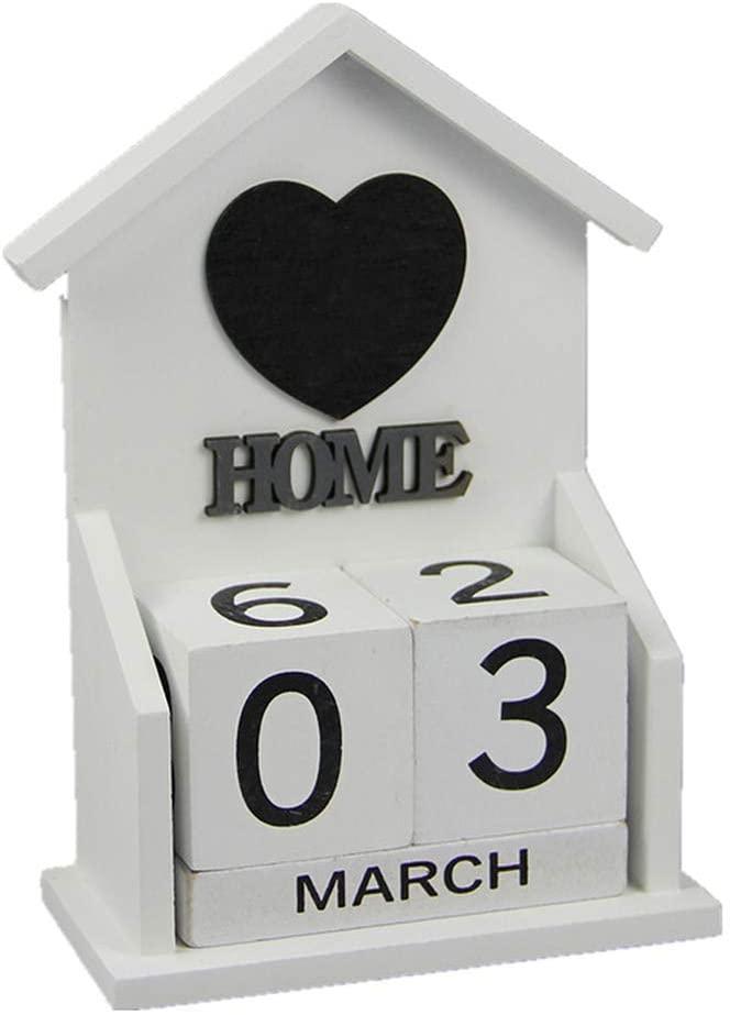 Vosarea Wooden Block Perpetual Calendar Heart House Shaped Desktop Calendar Unfinished Wood for Office Home Decor