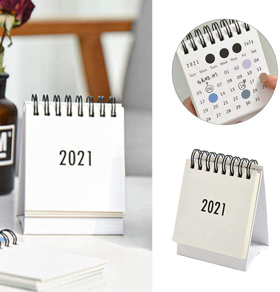 2021 Small Desk Calendar Planner Simple Solid Color Cartoon Vertical Desk Calendar Creative Mini Calendar Desktop Ornaments Calendar Book with Festivals to Improve Efficiency Calendar Book