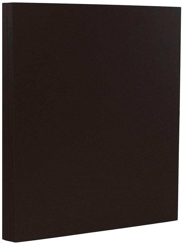 JAM PAPER Matte 80lb Cardstock - 8.5 x 11 Coverstock - Black Smooth - 50 Sheets/Pack
