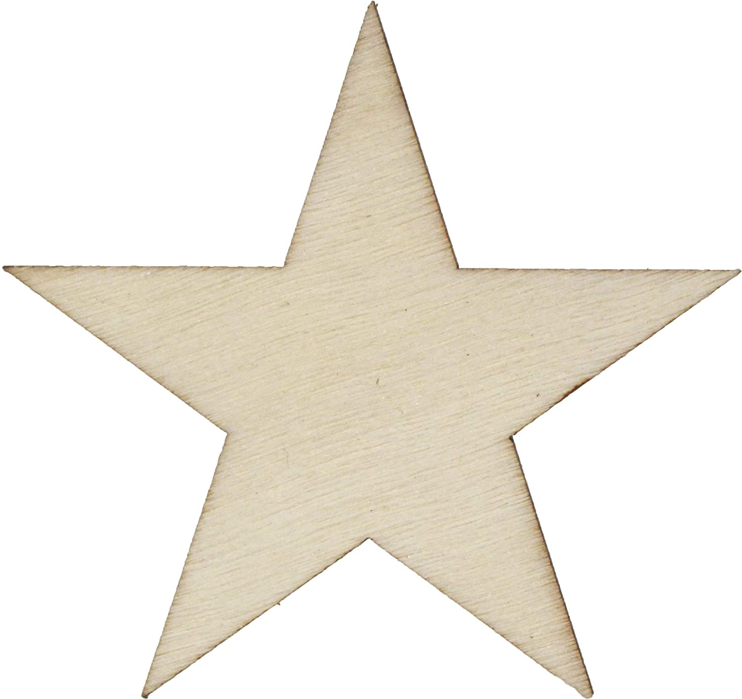 50 Small 1.75 inch Size Wood Stars 1-3/4 inch