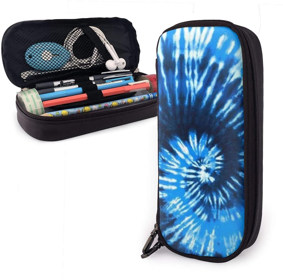NiYoung Blue Tie Dye Pencil Bag Pen Case, Students Stationery Pouch Zipper Pencil Pouch Bag for Pens, Pencils Drawing Painting Kids - Big Capacity Makeup Bag