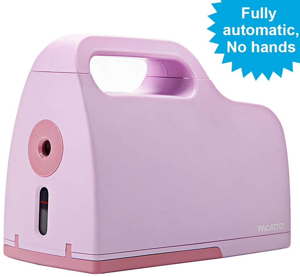 Zhonglin Pencil Sharpener, All-electric Pure Electric Suction Pen Automatic Exit Function After Completion, Suitable For No. 2/Multi-style Pencils (6-8mm), School Office Home Use (gray, purple).