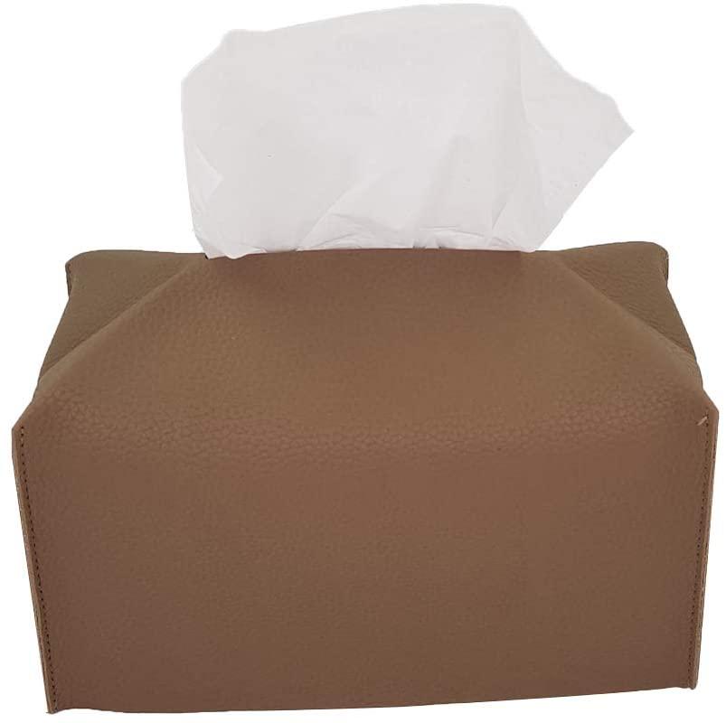 Premium Tissue felt Leather Covers, Decorative Square Tissues Dispenser Clear Cover holders for Toilet bathroom Box Holder, Rectangular unique Paper facial dispensor organizer for car (Cocoa Brown)