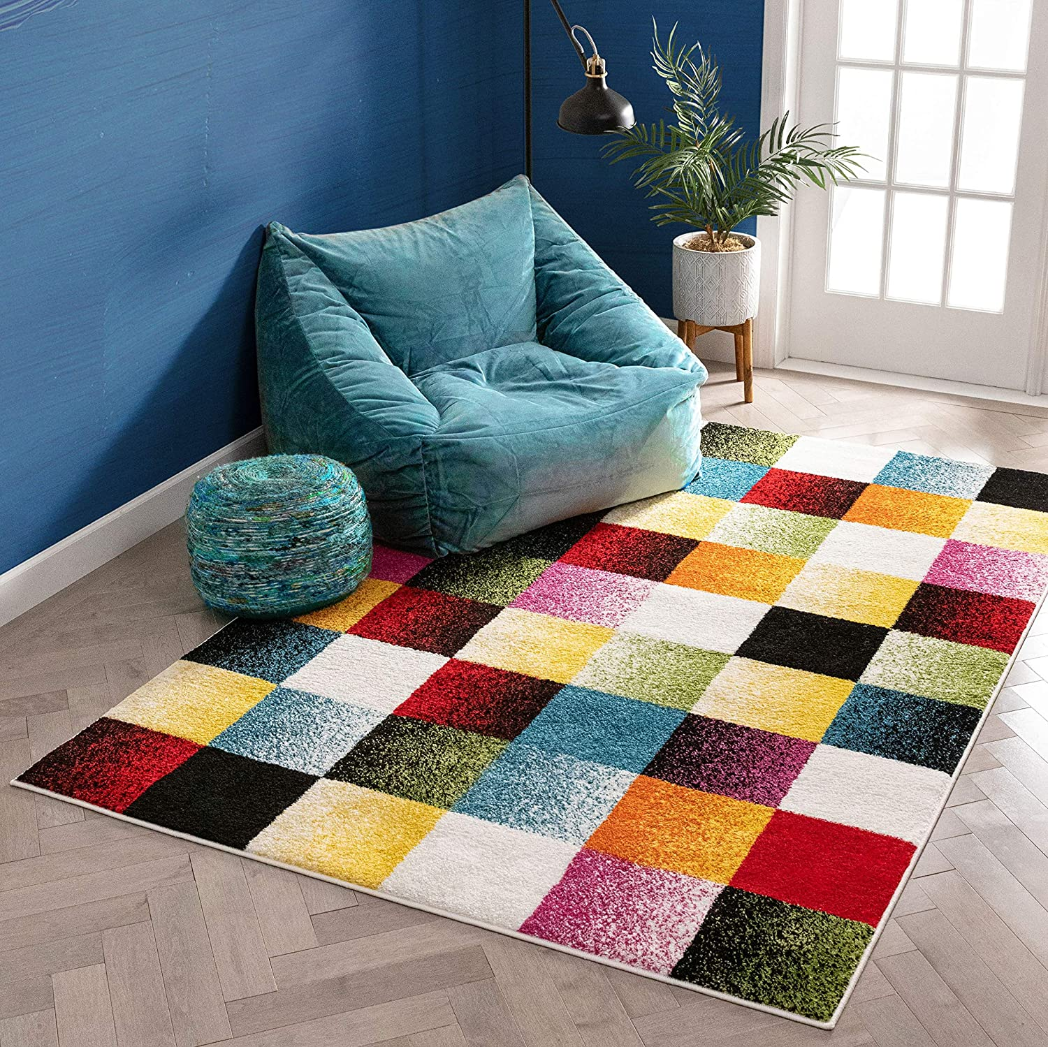 Well Woven Exuberance Multicolor Checkered Boxes Geometric 8x10 (7'10