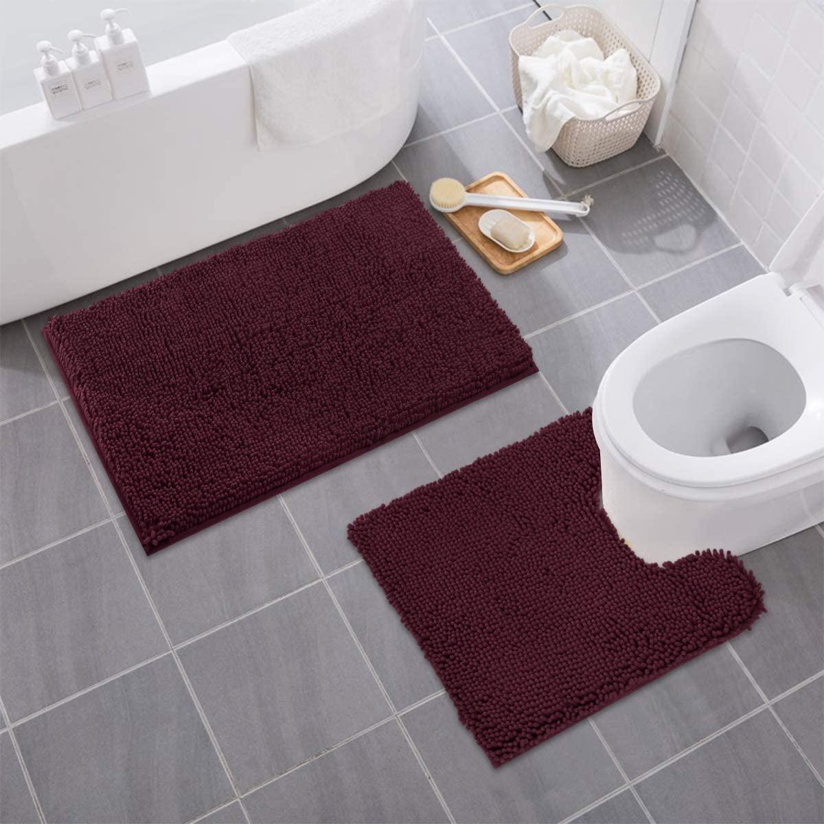 MAYSHINE Bathroom Rug Toilet Sets and Shaggy Non Slip Machine Washable Soft Microfiber Bath Contour Mat (Burgundy, 32x20 / 20x20 Inches U-Shaped)
