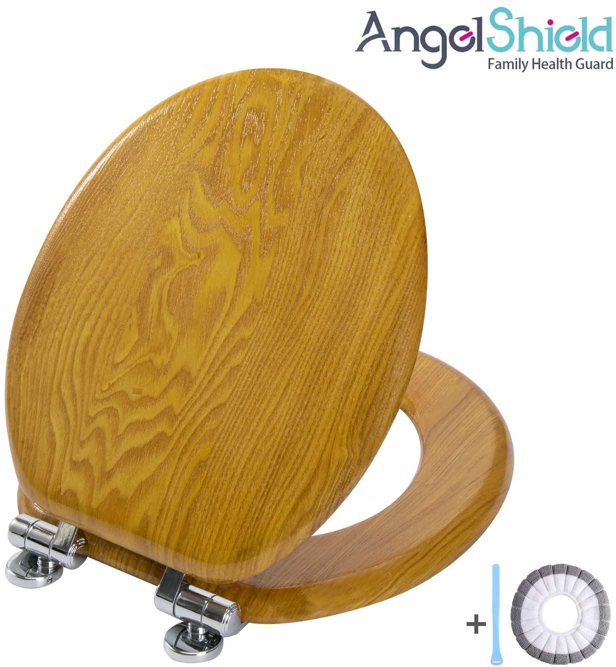 Angel Shield Wood Veneer Natural Toilet Seat with Quiet Close,Easy Clean,Quick-Release Hinges(Round,Oak)