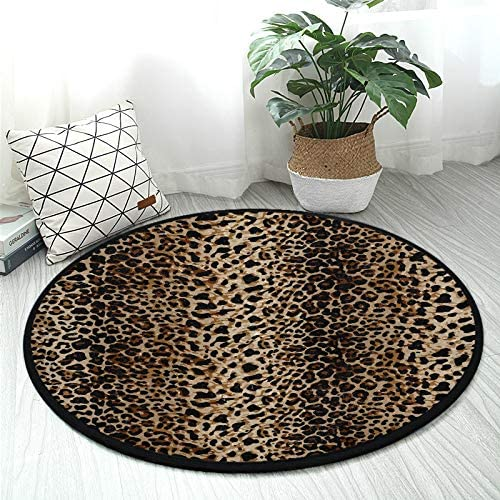 ALAZA Leopard Animal Print Brown Round Area Rug Non Slip Rug Floor Mat Carpet Entryway Hallway Sofa Living Room Bedroom Home Decor 3' Diameter(92 cm)