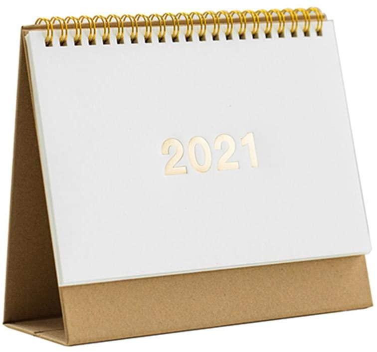 Obobb Retro Desk Calendar 2021 Cute Desktop Standing Flip Monthly Calendar on Easel Academic Calendar Full Year 2021 Calendar for Use from August 2019 to December 2021