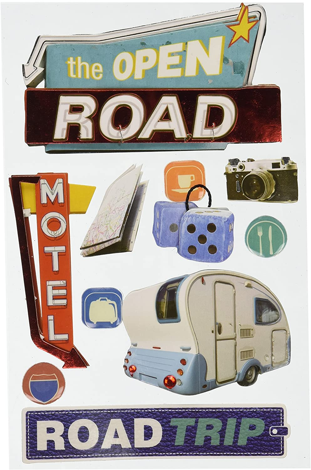 Paper House Productions STDM-0072E 3D Cardstock Stickers, Road Trip (3-Pack)