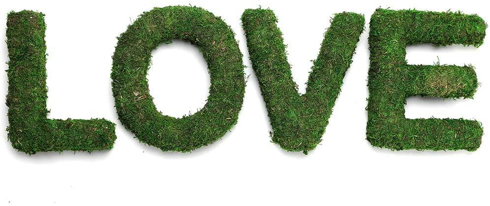 Byher Decorative Moss Monogram Letters - Love Sign Table Decor Centerpiece, Bridal Shower, Home Décor (Love Sign)
