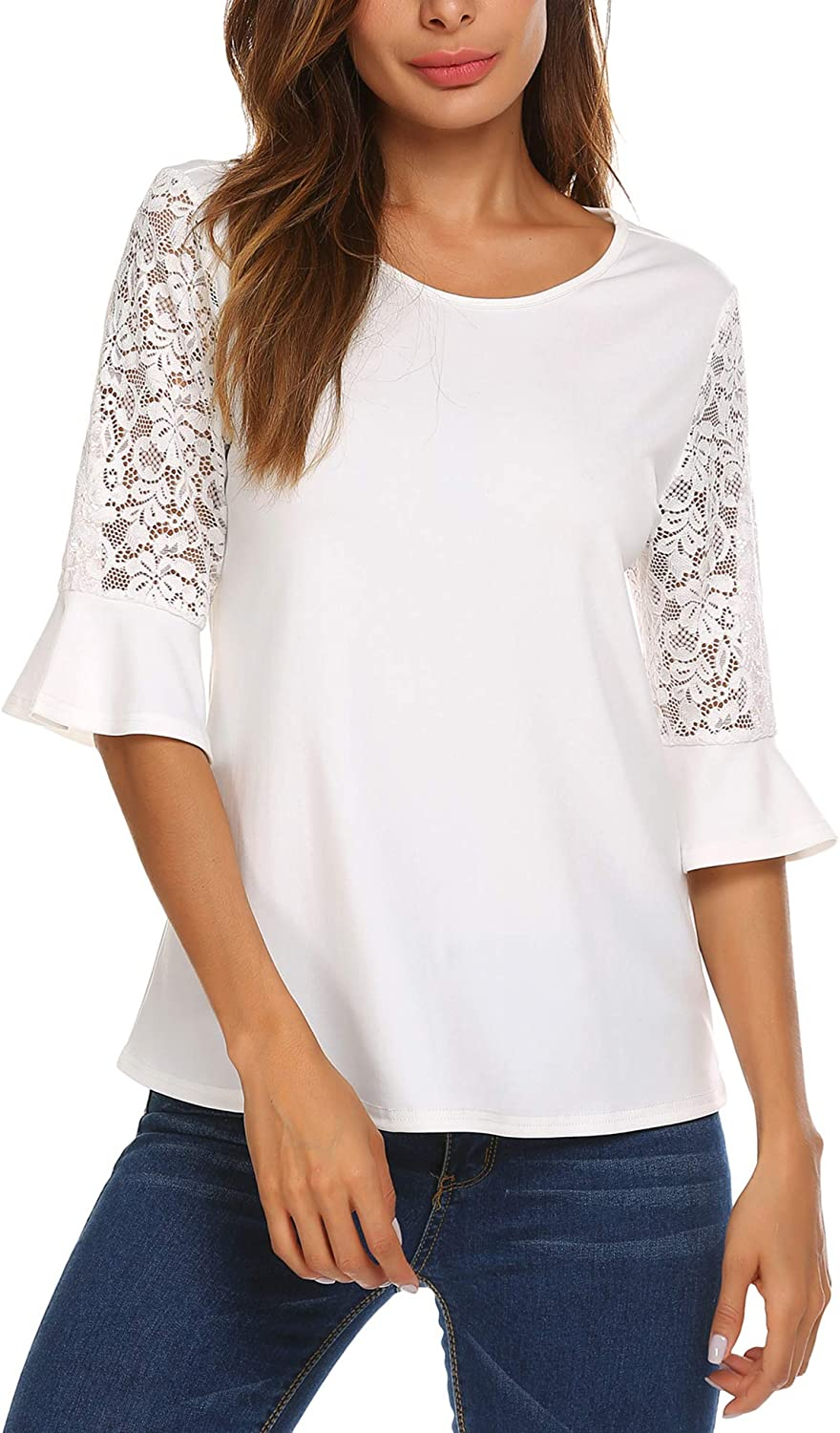 Meaneor 3/4 Sleeve Women Tops and Blouses Solid Lace Summer Tops Round Neck T-Shirts for Women S-XXL
