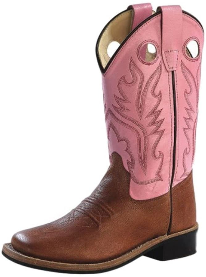 Old West Jama Corporation Boys Childrens Tan Canyon Pink Top Square Toe