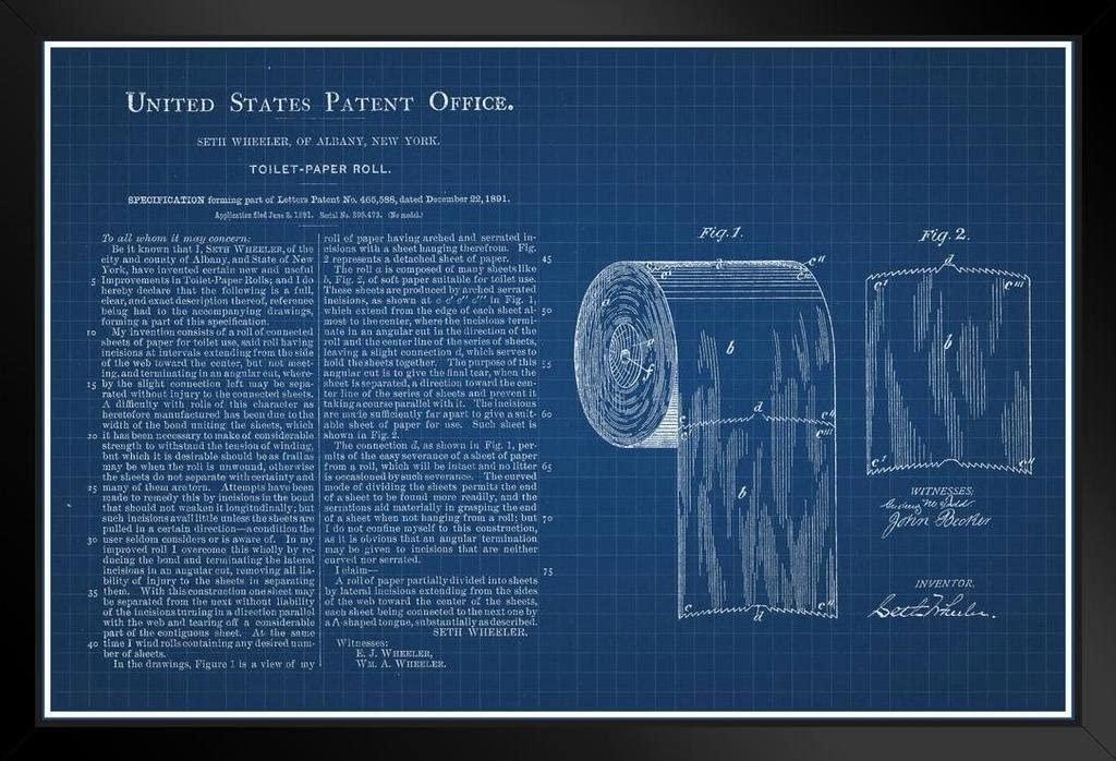 Toilet Paper Roll Official Patent Blueprint Black Wood Framed Art Poster 14x20