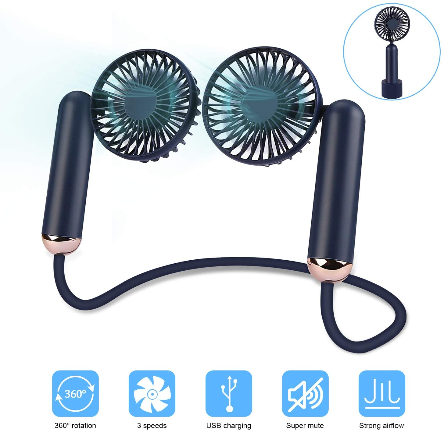 Detachable Neck Fan with 2 Desk Fans Small Quiet,Multifunction USB Rechargeable Personal Baby Car Seat Fan,Adjustable 3 Speeds Cooling Fan for Home Office Travel Outdoor Sports (Navy Blue)