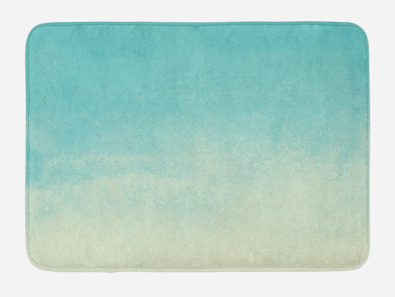 Lunarable Mint Bath Mat, Abstract Gradient Color Tone Watercolor Background Creative Hazy Modern Art, Plush Bathroom Decor Mat with Non Slip Backing, 29.5
