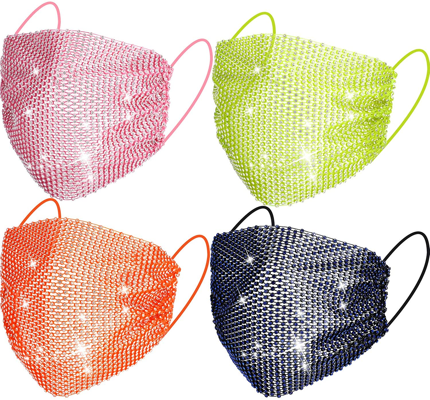 4 Pieces Rhinestone Mesh Face Cover Bling Crystal Masquerade Face Cover Halloween Venetian Mardi Gras Jewelry for Ball Party Nightclub (Blue, Pink, Orange, Green)