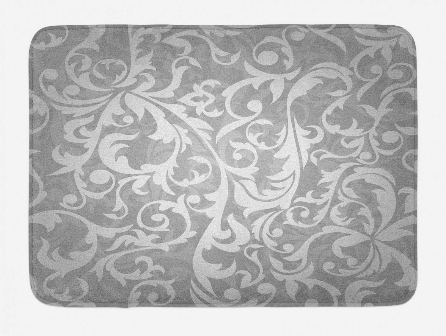 Ambesonne Grey Bath Mat, Victorian Style Large Leaf Floral Pattern Swirl Classic Abstract French Vintage Print, Plush Bathroom Decor Mat with Non Slip Backing, 29.5
