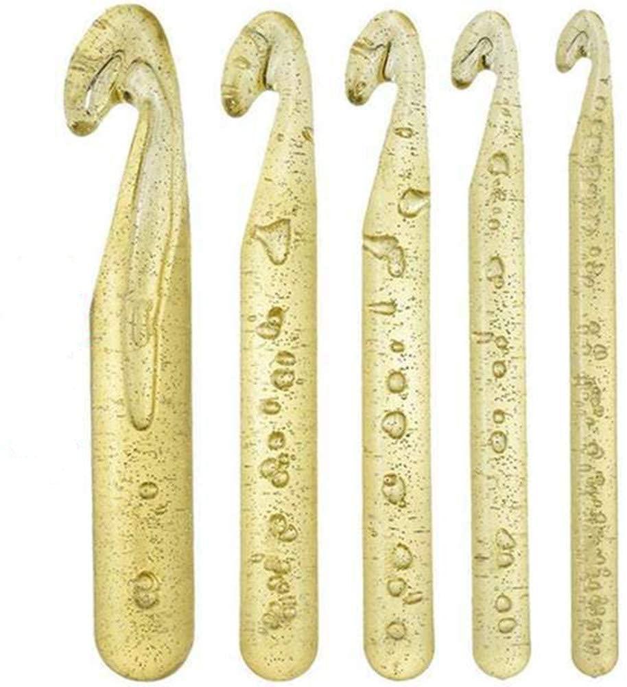 Katech 5 pcs Crochet Hooks Large Sizes (12mm / 15mm / 18mm / 20mm / 25mm) Plastic Crochet Needles Set Ergonomic Crochet Hook Kit DIY Yarn Weave Tool for Knitting Blanket, Shawl, Carpet, Sweater, Scarf
