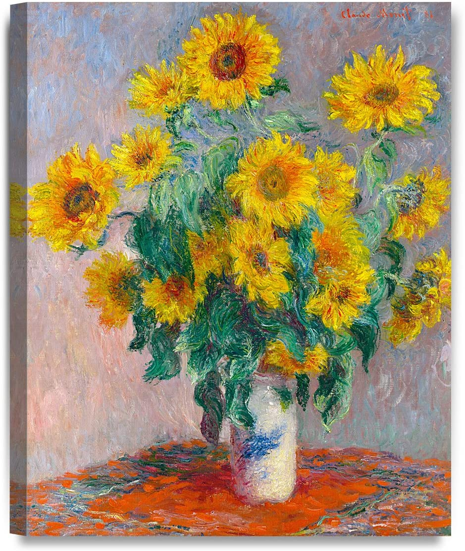 DECORARTS - Monet Sunflowers, Claude Monet Art Reproduction. Giclee Canvas Prints Wall Art for Home Decor 20x16