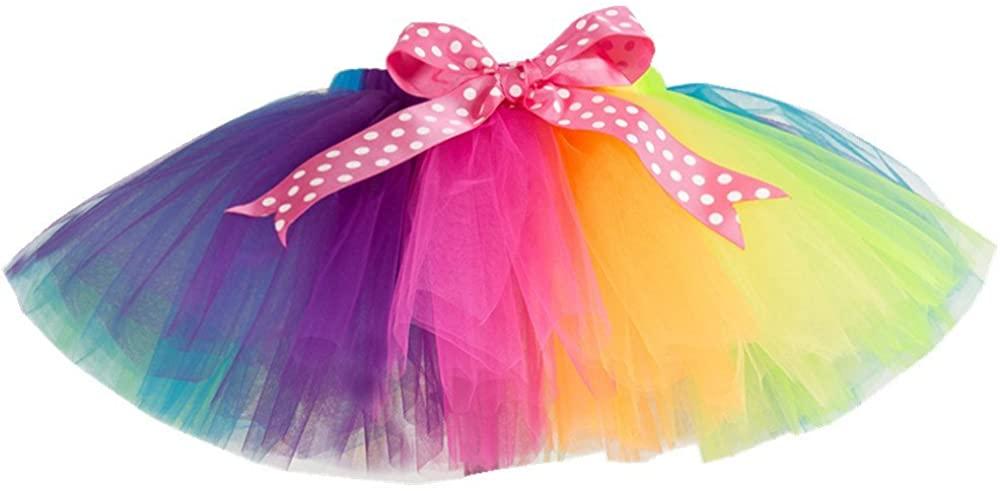 MOLFROA Baby Girls Bowknot Gauze Rainbow Tutu Skirt