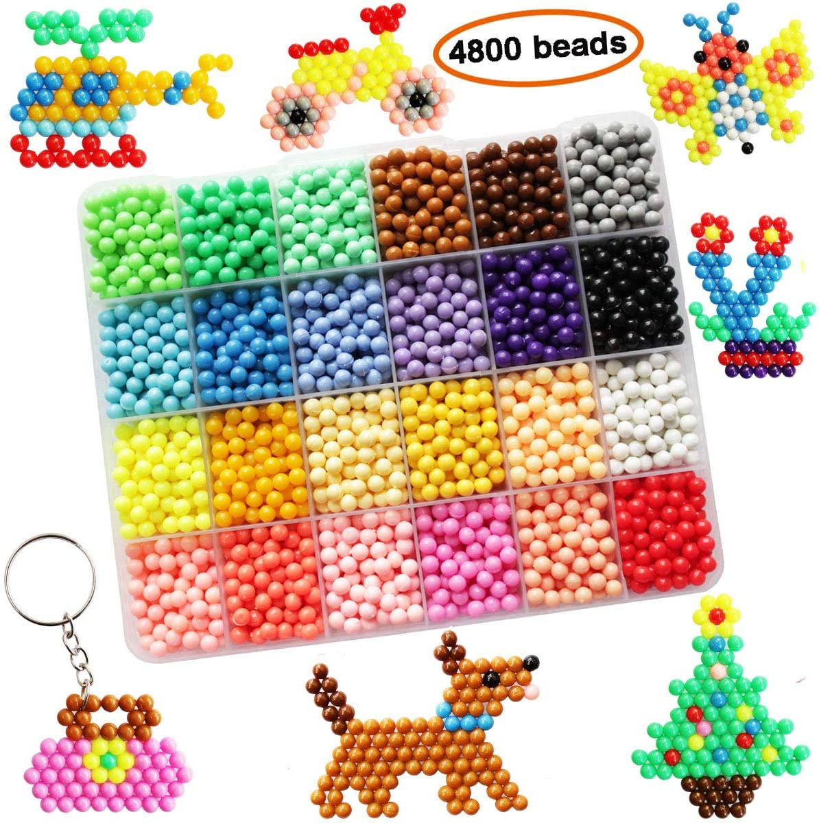 Mipartebo Water Fuse Beads 24 Colors 4800 Beads Magic Water Sticky Beads Set Fun DIY Art Crafts Toys for Kids Beginners