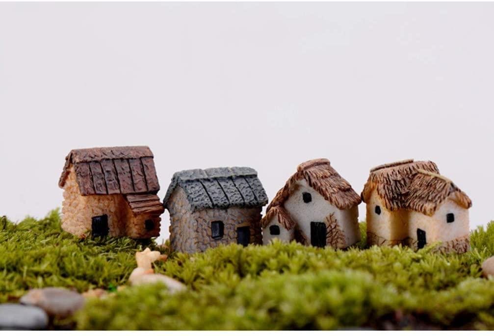 Garneck 4pcs Miniature Gardening Landscape Micro Village Stone Houses Thumbnail House Thatched Huts DIY Bonsai Terrarium Crafts Desk Ornaments for Fairy Garden Decoration(Random Style)