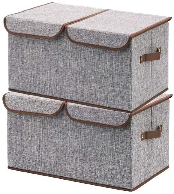 Storage Bins - File Cabinet Filing Box Storage Box Closet Desk Organizer with Lids, Center Divider Option, Double Lid, Legal & Letter Size Storage, Collapsible - Linen, Easy Storage (2 Pack)