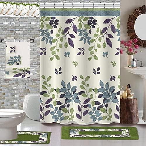 BH Home & Linen 18 Piece Floral Designs Banded Shower Curtain Bath Set,1,Bath Rug,1 Contour Rug 1, Shower Curtain 12 Metal Crystal Roller Ball Shower Hooks 3 Pcs Matching Towel Set (Forest Green)