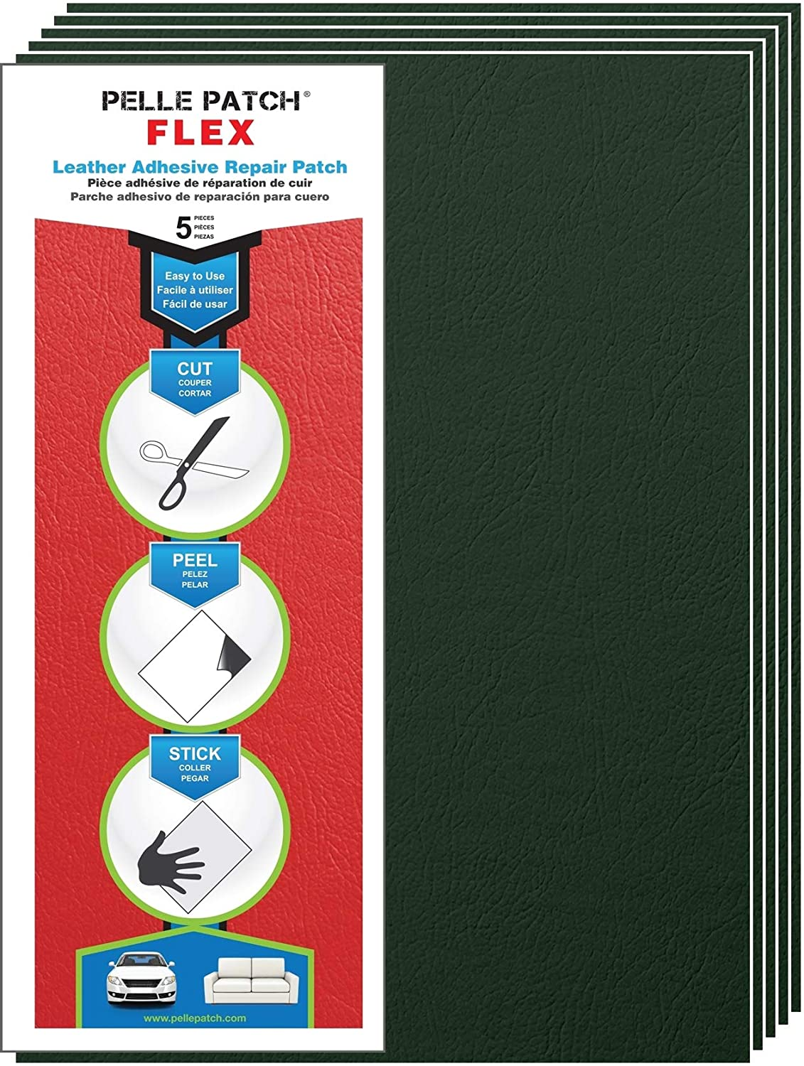 Pelle Patch - 5X Leather & Vinyl Adhesive Repair Patch - 25 Colors Available - Flex 8x11 - Medium Green