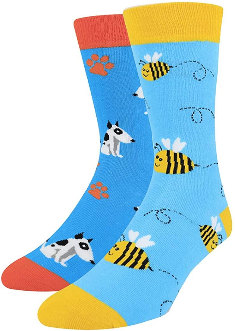 Men Novelty Crew Socks Boy Fun Crazy Cool Casual Warm Colorful Food Sock 2 Pack