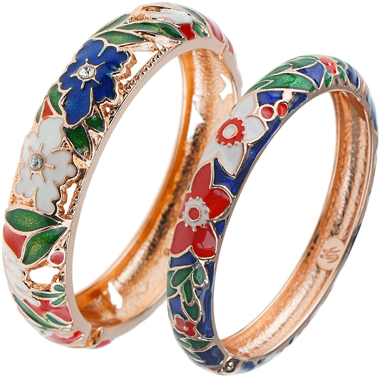 UJOY Handmade Enamel Bracelets Hollowed Filigree Butterfly Flower Golden Open Hinge Cuff Crystals Bangles Jewelry for Women 88A12
