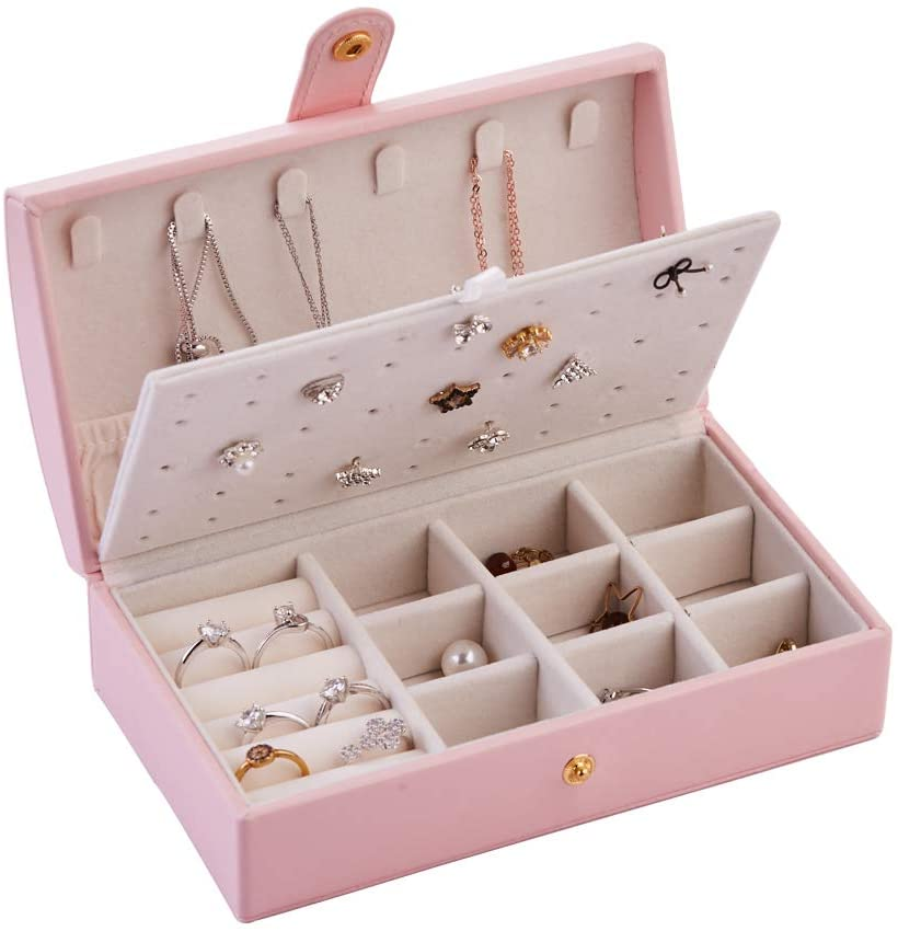 Longess Jewelry Box Organizer Faux Leather Jewelry Case Various Compartments for Rings Earrings Necklace Bracelets Birthday Gifts for Girls Women
