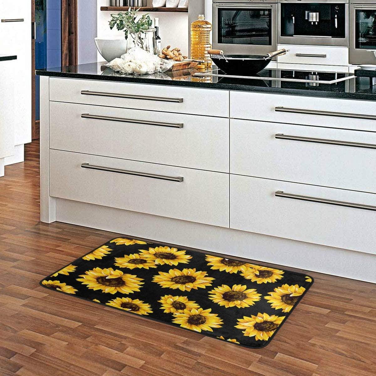 Sunflower Black Kitchen Floor Mats Non-Slip Modern Polyester Indoor Outdoor Aqua Area Rugs Living Room Bath Doormat Home Decor Runner Rug 39×20in