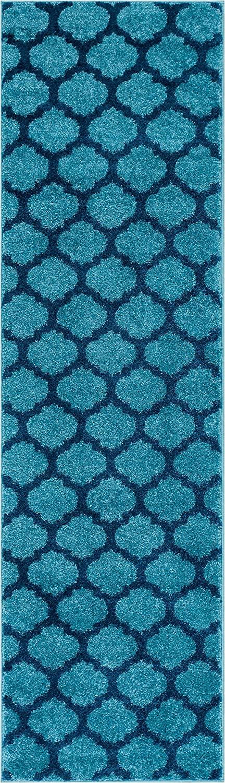 HomeWay Pattern Rugs - Fine Trellis Lattice Modern Area Rug Light Blue 2' x 7'3