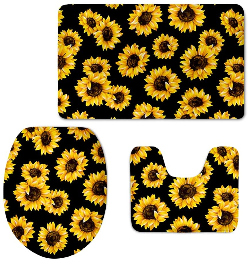 HUGS IDEA Bathroom Accessories 3 Piece Non Slip Toilet Seat Cover with Contour Mat and Lid Cover Fashion Sunflower Printed Area Rug Set