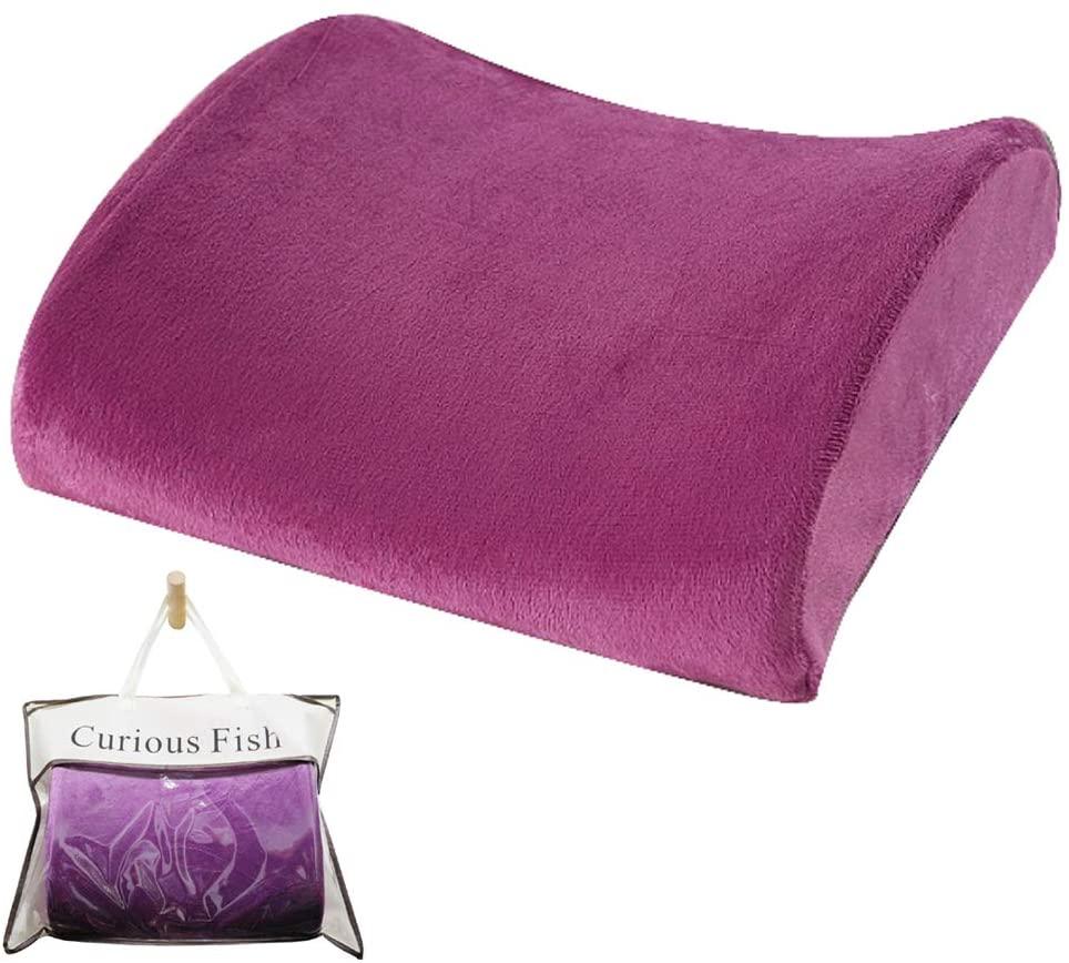Memory Foam Ergonomic Lumbar Back Support Pillow Orthopaedic Pain Cushion (Purple)