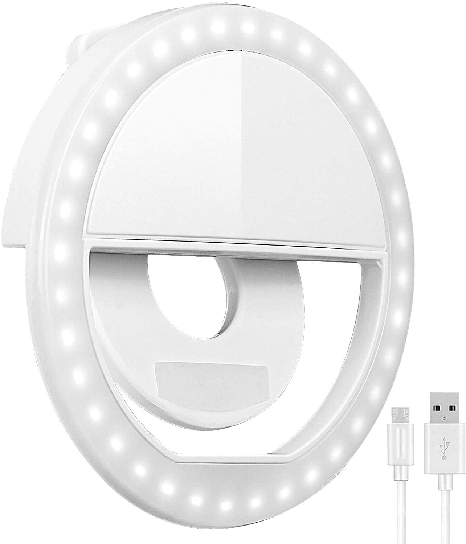 Selfie Ring Light Alpha Shark Rechargeable, 36 LED, Clips On, Portable, 3-Level Adjustable Brightness, Fill light for Smart Phone Photography, Video, Makeup Light (White)