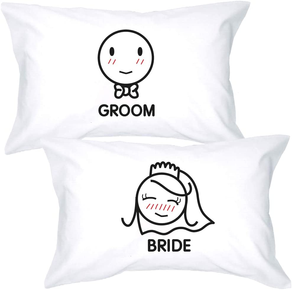 BoldLoft Bride and Groom Couples Pillowcases- Bride and Groom Gifts for Couples- Honeymoon Gifts Just Married Newlywed Bridal Shower- His and Hers Wedding Gifts