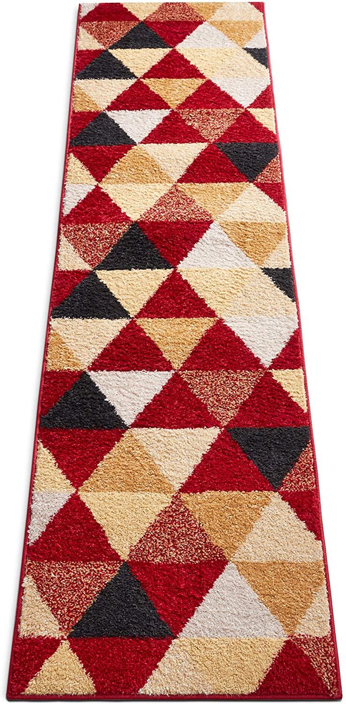 HomeWay Pattern Rugs - Triangle Modern Area Rug Red 2' x 7'3