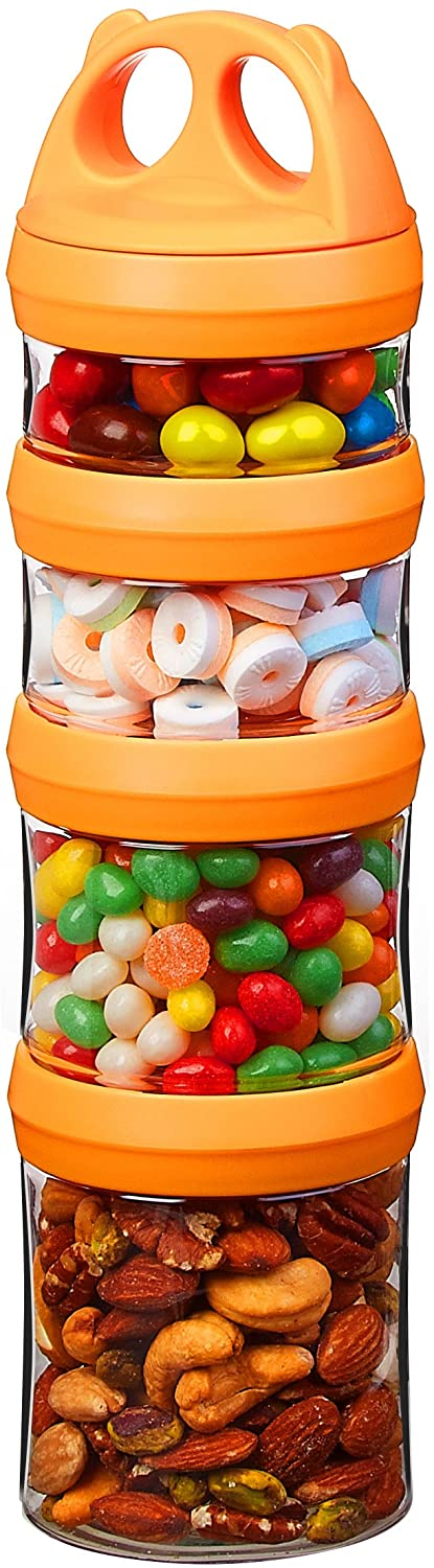SELEWARE Portable and Stackable 4-Piece Twist Lock Panda Storage Jars Snack Container to Contain Formula, Snacks, Nuts, Drinks and More, BPA and Phthalate Free, 31oz Orange